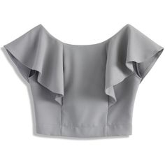 Chicwish Drift in a Frilling Grey Cropped Top (€32) ❤ liked on Polyvore featuring tops, grey, bateau neck top, grey top, flounce crop top, slash neck top and frilly tops