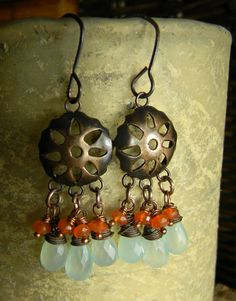 Chalcedony and carnelian chandelier earrings by Gloria Ewing.
