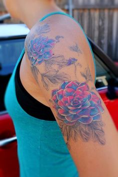 love the colors  flower tattoo | arm tattoo | tattoo sleeve | blue and pink tattoo | tattoos for girls | tattoo