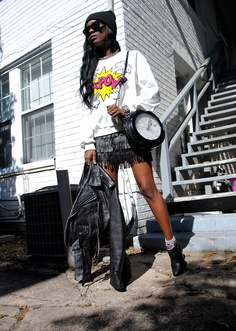 Jessica from Ms Vintage Virgin wearing our Leather Fringe Mini Skirt
