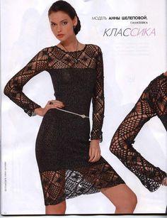 Crochetemoda: Vestido Preto de Crochet..Absolutely LOVE this dress!! Patt inc.xx