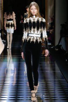 Balmain   Fall/Winter Ready-To-Wear Collection via Designer Olivier Rousteing   Modeled by Katja Ledneva   March 3, 2016; Paris