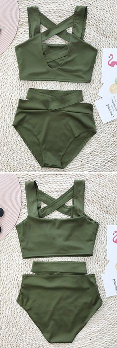 What a beautiful high waisted bikini set.  — — Search more at chicnico.com