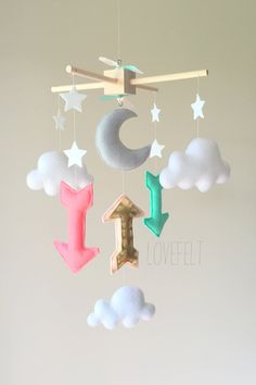 Baby Crib Mobile Baby Mobile Arrow Mobile by lovefeltmobiles