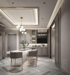 Kitchen Ceiling Design, Ceiling Design Living Room, Bedroom False Ceiling Design, Kitchen Room Design, Home Room Design, Home Decor Kitchen, Interior Design Kitchen, Classical Kitchen, Neoclassical Interior