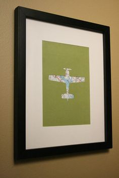 Airplane Map Transportation Cut Out Artwork By Little Red Flag - contemporary - artwork - Etsy