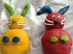 Decorating the bunnies requires lots of little pieces of dough rolled into little shapes.