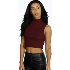 Boohoo Tia Turtle Neck Sleeveless Crop Jumper ($20) ❤ liked on Polyvore featuring tops, sweaters, wine, turtleneck sweater, red jumper, sleeveless turtleneck tops, lightweight sweaters and red turtleneck