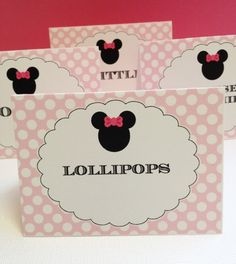 Pink Minnie Mouse Party Custom Printed Buffet or by LittlePigPress
