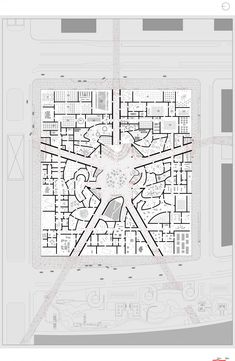 Floor Plan on Site Plan / National Art Museum of China competition entry / OMA