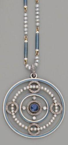 An Art Deco platinum, enamel, pearl, diamond and sapphire pendant, circa 1925. #ArtDeco #pendant