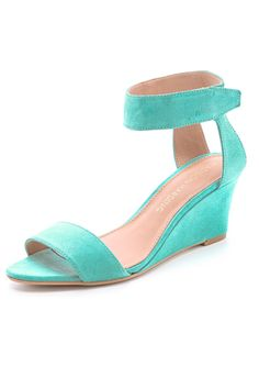 Madison Harding Shavonne Low Wedge Sandals - Love the Turquoise, Great for a beach wedding