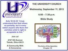 Bible Study on Wednesday, September 11, 2013 at The University Church.