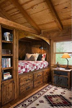 Cabin Bedroom with Rustic Built-in-Bed