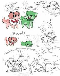 Perona, Zoro, and Mihawk as puppy dogs! :D