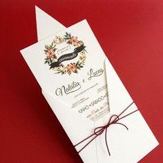 AQUARELA - Convite de Casamento - Linha Presence  16 x 22 cm