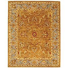 Handmade Heritage Shahi Brown/ Blue Wool Rug (6' x 9')
