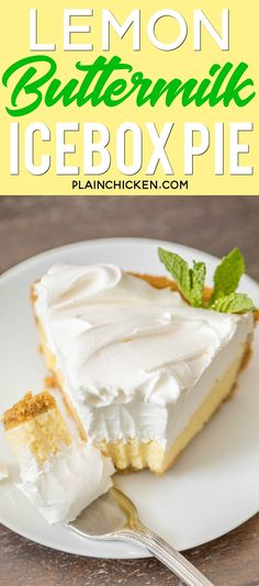 Lemon Buttermilk Icebox Pie - to-die-for delicious!!! SO simple and it tastes amazing! We made two of these pies in one week and there were no leftovers!! Sweetened condensed milk, lemon zest, lemon juice, buttermilk, egg yolks, graham cracker crust. Ready in 20 minutes. Top with whipped cream or cool whip. Seriously THE BEST! #lemonpie #pie #lemon #dessert