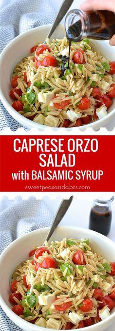 Caprese Orzo Salad with Balsamic Syrup - Fresh mozzarella, juicy tomatoes, garden basil and orzo pasta drizzled with a sweet balsamic syrup.perfect for a weekday lunch or as a side at your summer BBQ! Orzo Recipes, Vegetarian Recipes, Dinner Recipes, Cooking Recipes, Healthy Recipes, Recipe For Orzo Pasta, Cooking Bacon, Soup And Salad, Pasta Salad