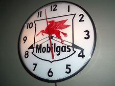 Mobil, Mobilgas Pegasus Lighted  Pam Clock, Gas & Oil Vintage Advertising