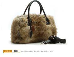 Venta caliente 2011 messenger bolso de mano con alta- final artificial de piel de zorro y de cuero genuino color camel sedoso cabello m9-8896