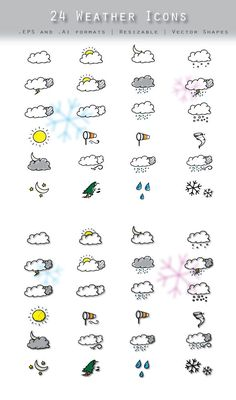A set of Hand drawn weather icons. AI and EPS files. 100% vector. $3 at :https://www.sites.google.com/site/diamonddew123/vectors/hand-drawn-weather-icons-1    Enjoy !