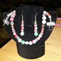 Check out this item in my Etsy shop https://www.etsy.com/listing/214676403/watermelon-jade-swarovski-crystal