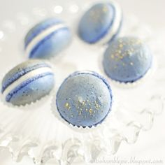Pretty blue berry Macarons . . .  Macarons in wedding colors . . . My cousin Elise makes these.