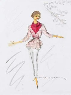 """Edith Head sketch for Natalie Wood in """"Love With a Proper Stranger"""""""