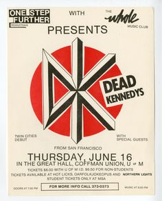 Dead Kennedys flyer, by Winston Smith. Music Flyer, Concert Flyer, Funny Vintage Ads, Vintage Humor, Holiday In Cambodia, Winston Smith, Proto Punk, Dead Kennedys, Rock Band Posters