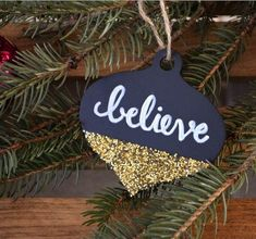 Glitter-Tipped Chalkboard Ornament   Make this easy DIY ornament with chalkboard paint.
