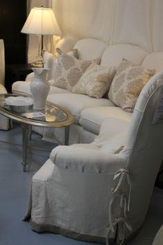 Gorgeous cream and ecru living room.  Sunrise Home via Trouvais