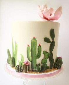 New Cupcakes Decorados Cactus Ideas Fancy Cakes, Cute Cakes, Pretty Cakes, Beautiful Cakes, Amazing Cakes, Pretty Birthday Cakes, Cupcakes Succulents, Succulent Cakes, Fondant Cakes