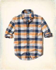 A nice breezy plaid for a warm summer game, in orange and navy, but it's listed as black.