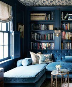 blue library and blue velvet sofa