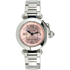 Preowned Cartier Lady's Stainless Steel Miss Pasha Quartz Wristwatch... ($3,000) ❤ liked on Polyvore featuring jewelry, watches, multiple, pink jewelry, pre owned jewelry, cartier wrist watch, dial watches and crown jewelry
