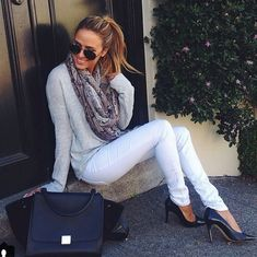 White Pants with Grey Long Sleeve and Scarf