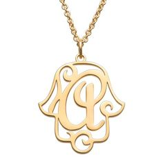 CPS Gold Over Sterling Filigree Initial Hamsa Hand Necklace - Metallic Planet Jewelry, Ancient Symbols, Sentimental Gifts, Hamsa Hand, Filigree, Initials, Gold Necklace, Pendants, Chain