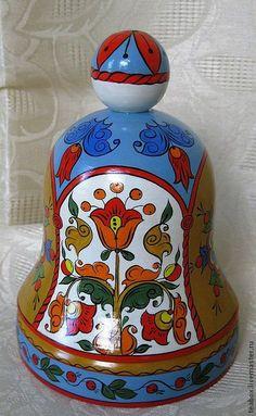 Купить Колокольчик деревянный расписной - голубой, колокольчик, русский стиль, русский сувенир, древо жизни