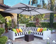 Cantilevers are the ultimate option for those who want the best of the best. Not only is the base very heavy, everything from the frame to the fabric of the umbrellas fan is made of heavy-duty materials to prevent tearing. Cantilever umbrellas offer full functionality, allowing you to move your umbrella up and down and side to side. The 10′ Deluxe Square Cantilever Umbrella is one of the most popular models.
