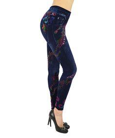 Look at this #zulilyfind! Indigo Denim Floral Leggings by Ace Fashions #zulilyfinds