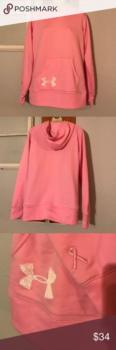 Under Armour Hoodie Under Armour Hoodie-Size Large-Pink/breast cancer awareness-EUC-No flaws-Any questions just ask! Under Armour Tops Sweatshirts & Hoodies