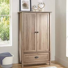 Armoire Washed Oak Wardrobe Closet Storage Cabinet Clothes Bedroom Furniture NEW