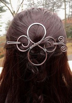 hair slide, celtic hair barrette, hair clips for women, hair barette for thick hair bun holder, hair pin large metal womens gift jewelry Loc Jewelry, Metal Jewelry, Jewellery, Celtic Hair, Hair Slide, Copper Hair, Hair Beads, Hair Sticks, Hair Ornaments