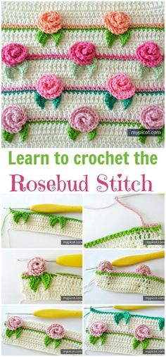 Rosebud Stitch Crochet Pattern Stitch Of The Week & Crochet Flowers Rosebud Stitch Crochet Pattern Stitch Of The Week & Crochet Flowers Stitch Crochet, Crochet Motifs, Crochet Diagram, Tunisian Crochet, Tutorial Crochet, Crochet Borders, Crochet Tutorials, Filet Crochet, Crochet Ideas