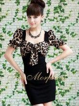 Black Leopard Bow Cap Sleeve Ruffle Banded Lady Dress
