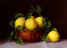 "Lemons & Copper Dish -16wx12"" - oils on linen by Trisha Hardwick"