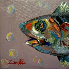 Fish Paintings On Canvas | Painting of the Day, Daily Oil Paintings by Delilah: Wild Fish No. 2 ...