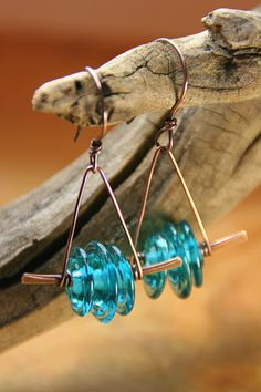 Trapeze Girl Copper Earrings - Teal Lampwork Disk on Hammered Copper