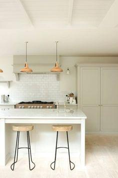 marble island pale grey kitchen | devol kitchens